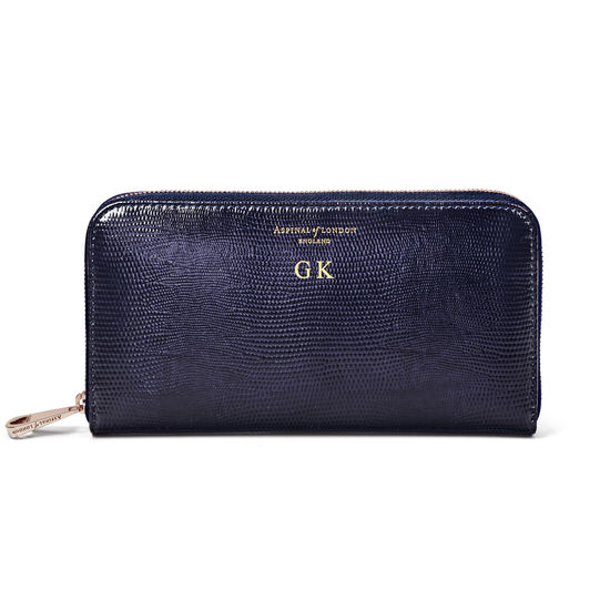 Continental Clutch Zip Wallet in Midnight Blue Silk Lizard from Aspinal of London