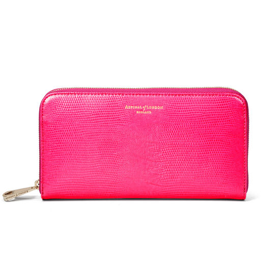 Continental Clutch Zip Wallet in Penelope Pink Silk Lizard from Aspinal of London