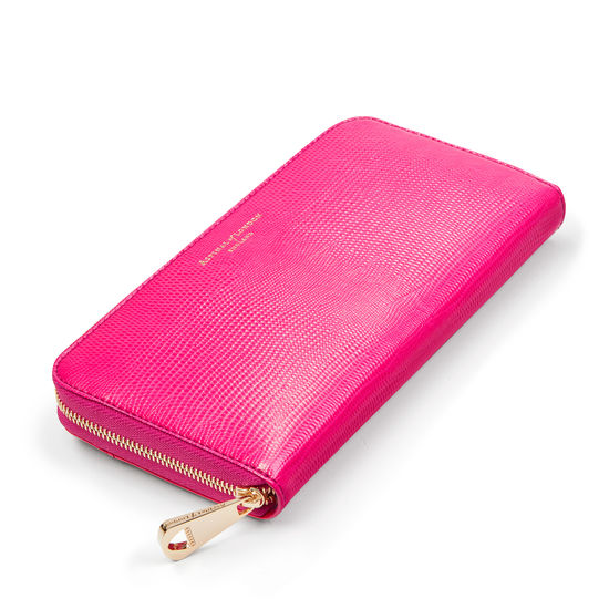 Continental Purse in Penelope Pink Silk Lizard from Aspinal of London