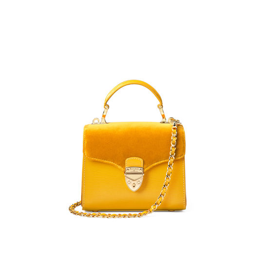 Mini Mayfair Bag in Bright Mustard Silk Lizard & Velvet from Aspinal of London