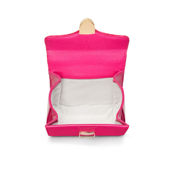 Mini Mayfair Bag in Penelope Pink Silk Lizard & Velvet from Aspinal of London