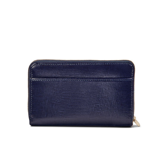 Midi Continental Wallet with Wrist Strap in Midnight Blue Silk Lizard from Aspinal of London