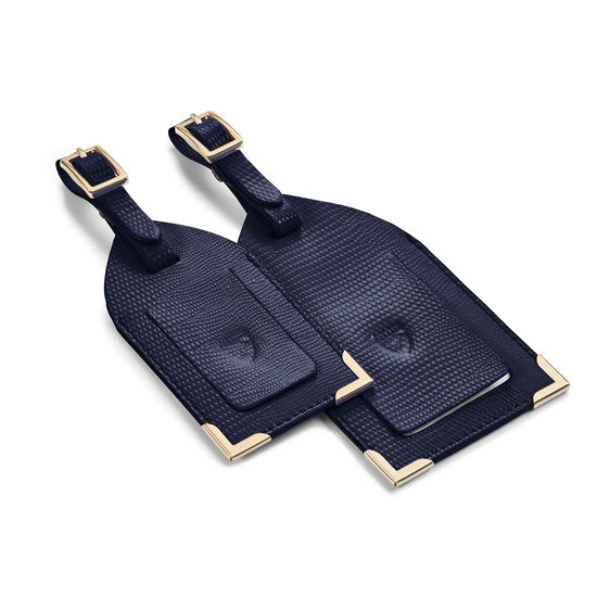Set of 2 Luggage Tags in Midnight Blue Silk Lizard from Aspinal of London