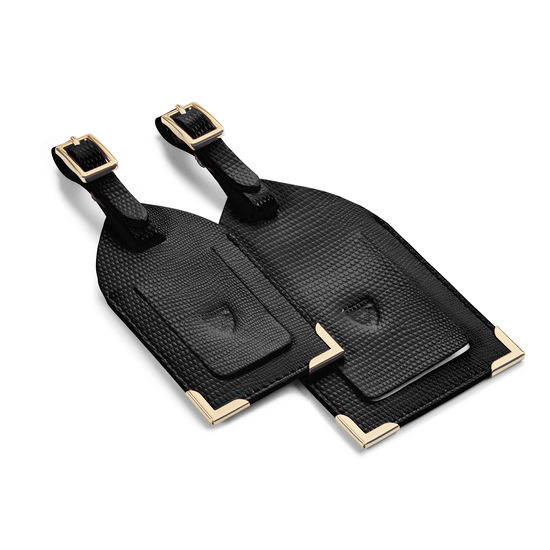 Set of 2 Luggage Tags in Black Silk Lizard from Aspinal of London