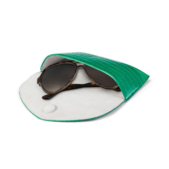Sunglasses Case in Deep Shine Emerald Green Small Croc from Aspinal of London