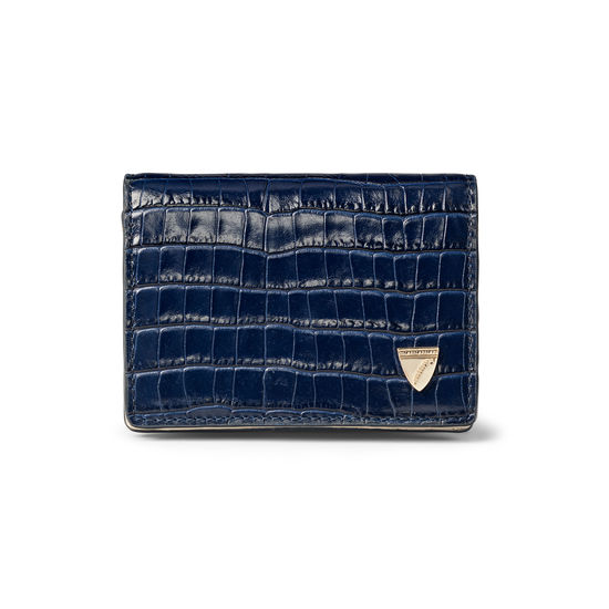 Accordion Card Case with Chain in Deep Shine Midnight Blue Small Croc & Smooth Ivory from Aspinal of London