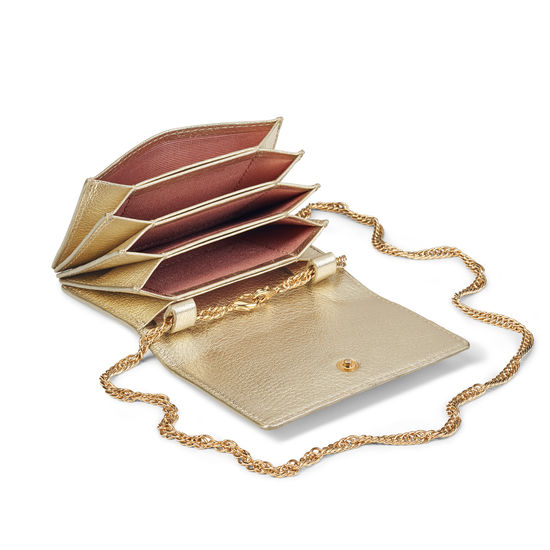 Lion Accordion Card Case with Chain in Pale Gold Pebble from Aspinal of London