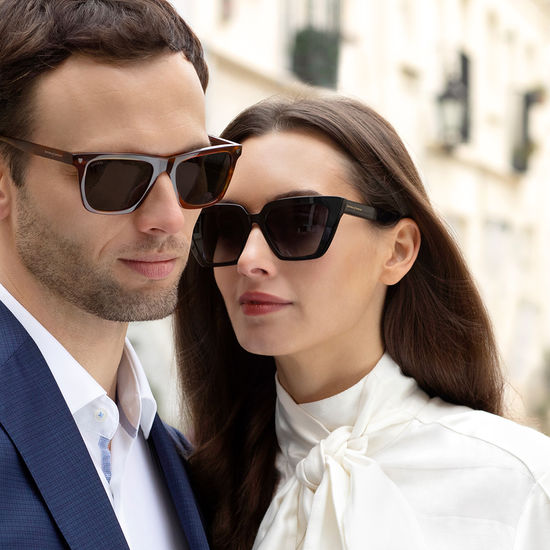 Paris Sunglasses in Black Acetate from Aspinal of London