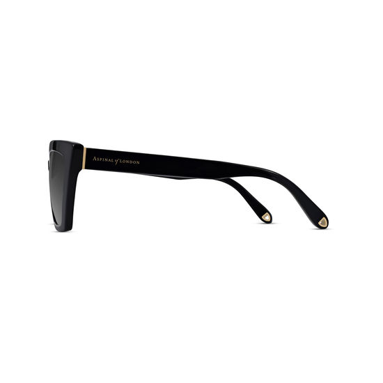 Deauville Sunglasses in Black Acetate from Aspinal of London