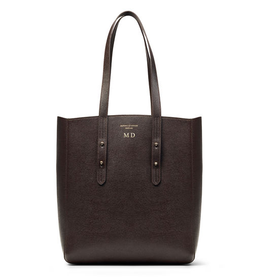 Essential Tote in Dark Brown Saffiano from Aspinal of London