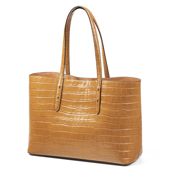 Regent Tote in Deep Shine Natural Tan Croc from Aspinal of London