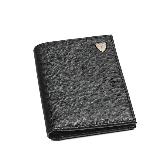 Credit Card Wallet with Notes Pocket in Black Saffiano from Aspinal of London