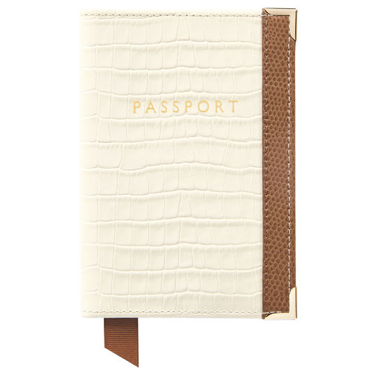 Passport Cover Deep Shine Ivory Small Croc & Camel Lizard from Aspinal of London