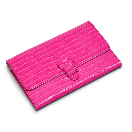 Classic Travel Wallet in Deep Shine Penelope Pink Small Croc from Aspinal of London