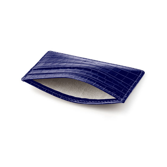 Slim Credit Card Holder in Deep Shine Midnight Blue Small Croc from Aspinal of London