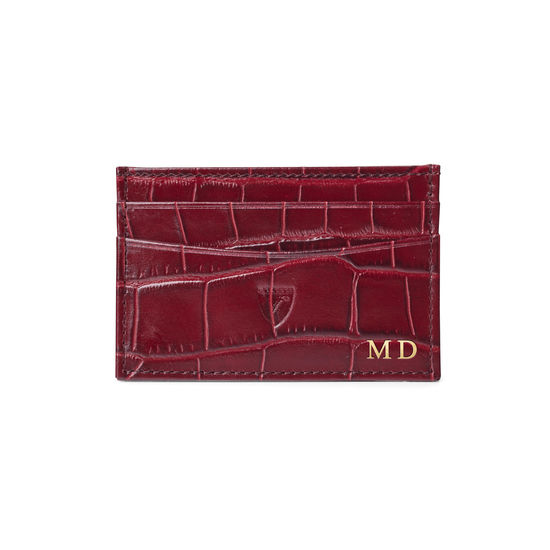 Slim Credit Card Case in Bordeaux Croc from Aspinal of London
