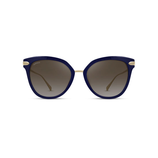 Cap Ferrat Sunglasses in Midnight Blue Acetate & Gold from Aspinal of London