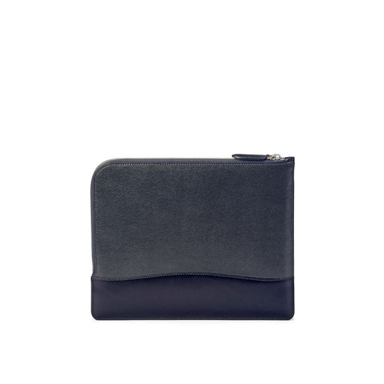 City Small Tech Folio in Navy Saffiano from Aspinal of London