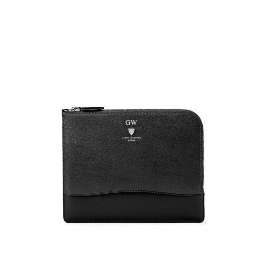 City Small Tech Folio in Black Saffiano from Aspinal of London