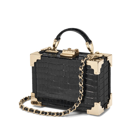 Micro Trunk in Deep Shine Black Small Croc from Aspinal of London