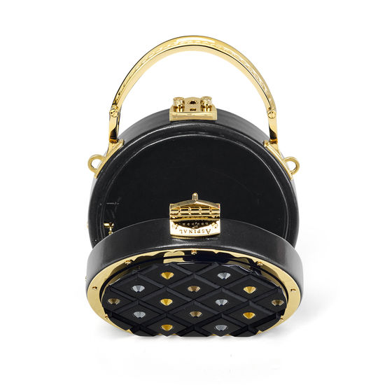 Micro Hat Box in Diamond Cut Black Acrylic with Jet Crystals from Aspinal of London