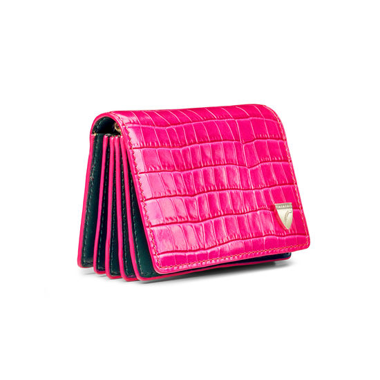 Accordion Card Case with Chain in Deep Shine Penelope Pink Small Croc & Smooth Evergreen from Aspinal of London