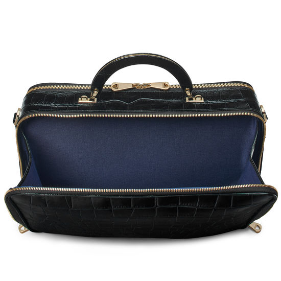 London Document Case in Deep Shine Black Soft Croc from Aspinal of London
