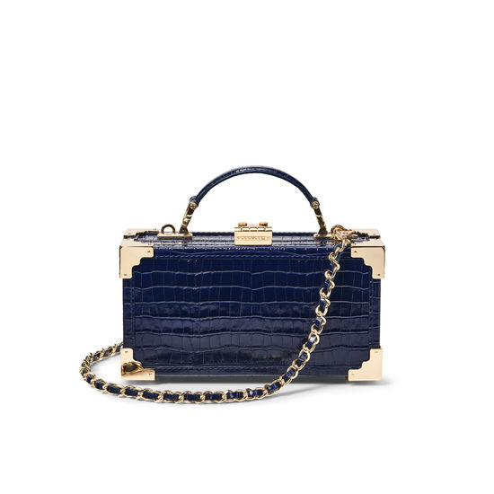 Trinket Box in Deep Shine Midnight Blue Small Croc from Aspinal of London