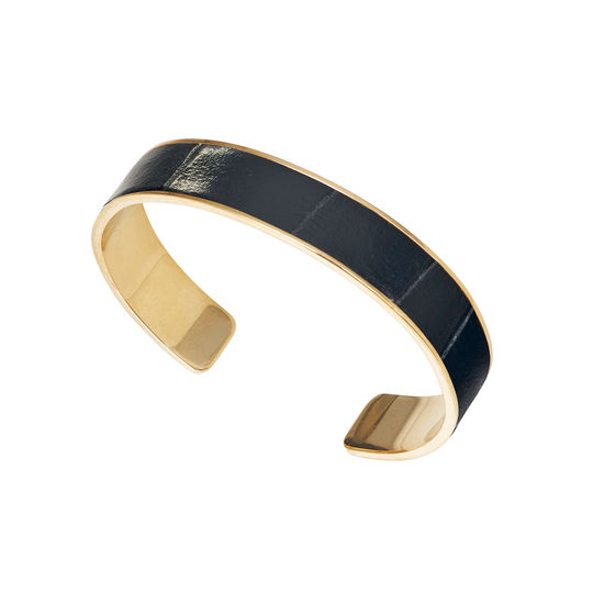 Cleopatra Skinny Cuff Bracelet in Deep Shine Black Small Croc from Aspinal of London