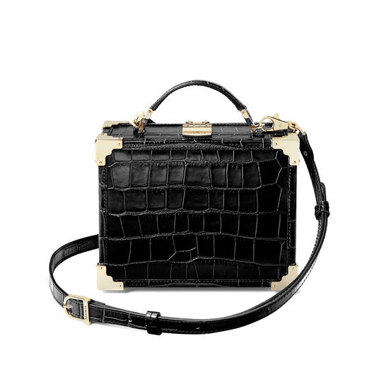 Mini Trunk Clutch in Deep Shine Black Croc with Gold Hardware from Aspinal of London