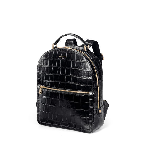 London Backpack in Deep Shine Black Soft Croc from Aspinal of London