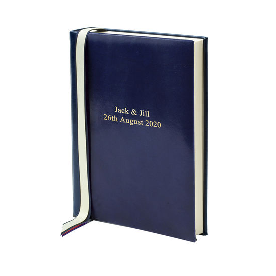 English Bridle Portrait Photo Album in Sapphire with Cream Pages from Aspinal of London
