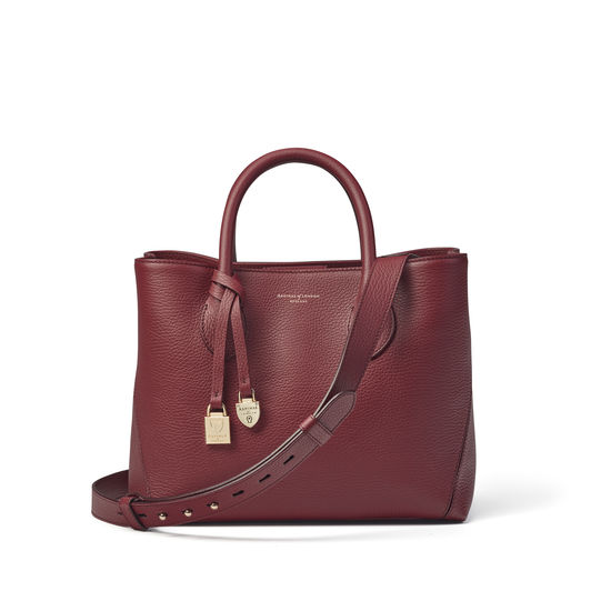 Midi London Tote in Bordeaux Pebble from Aspinal of London