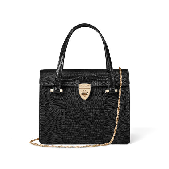 Lady P Bag in Black Silk Lizard from Aspinal of London