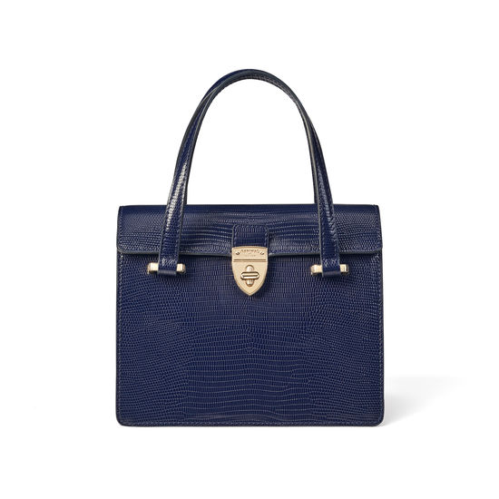 Lady P Bag in Midnight Blue Silk Lizard from Aspinal of London
