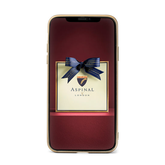 iPhone 11 Case with Gold Edge in Deep Shine Penelope Pink Small Croc from Aspinal of London