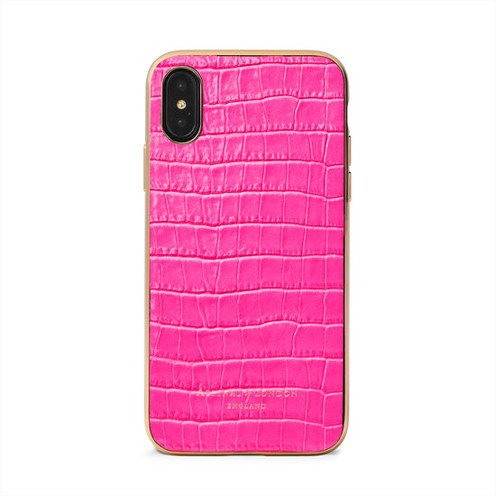 iPhone Xs Case with Gold Edge in Deep Shine Penelope Pink Small Croc from Aspinal of London