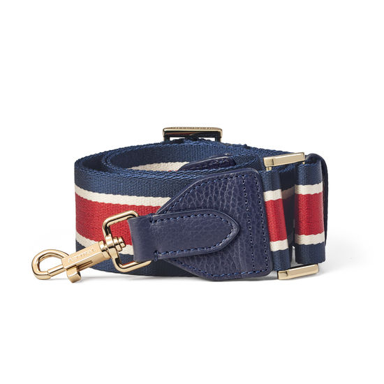 Webbing Bag Strap in Navy, Red & White Stripes from Aspinal of London