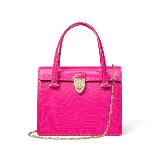 Lady P Bag in Penelope Pink Silk Lizard from Aspinal of London