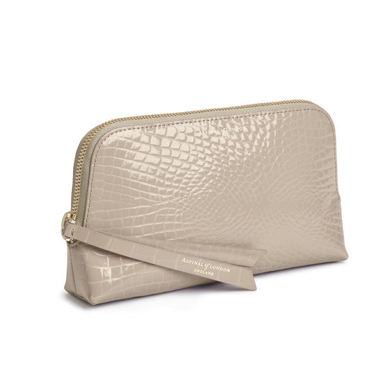 Small Essential Cosmetic Case in Soft Taupe Patent Croc from Aspinal of London