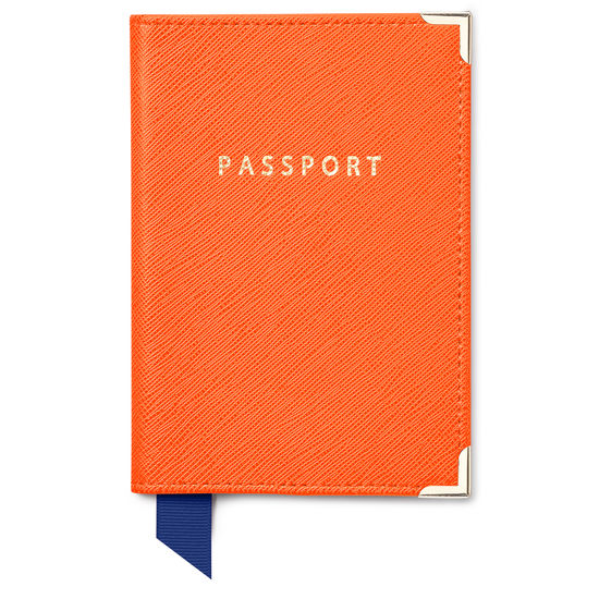 Travel Collection in Bright Orange Saffiano from Aspinal of London