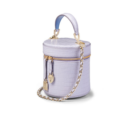Pandora Bag in Deep Shine English Lavender Small Croc from Aspinal of London