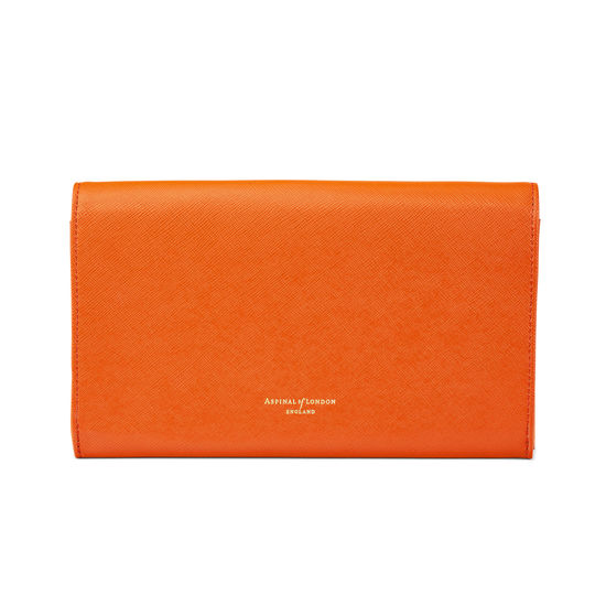 Classic Travel Wallet in Bright Orange Saffiano & Stone Suede from Aspinal of London