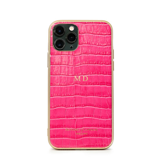 iPhone 11 Pro Case with Gold Edge in Deep Shine Penelope Pink Small Croc from Aspinal of London