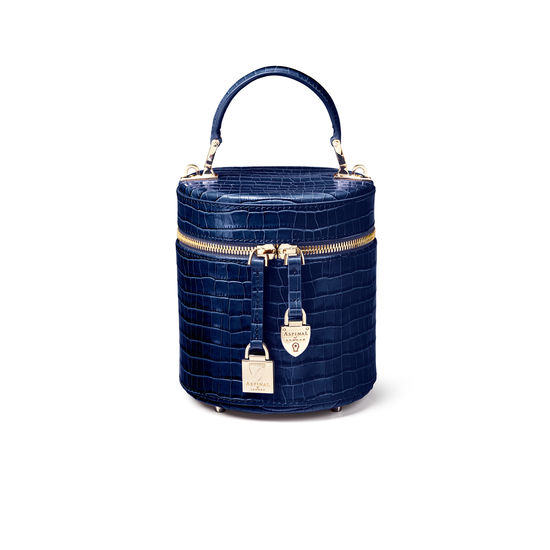 Pandora Bag in Deep Shine Midnight Blue Small Croc from Aspinal of London