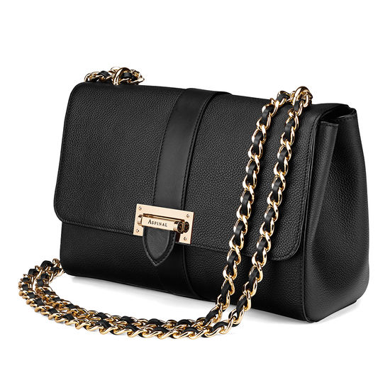 Large Lottie Bag in Black Pebble from Aspinal of London