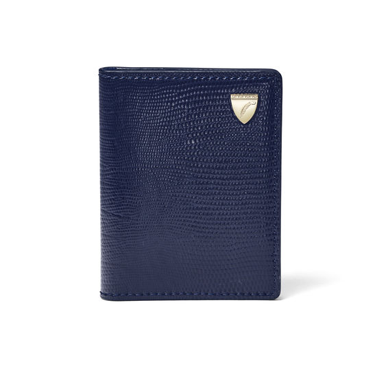 ID & Travel Card Case in Midnight Blue Silk Lizard from Aspinal of London