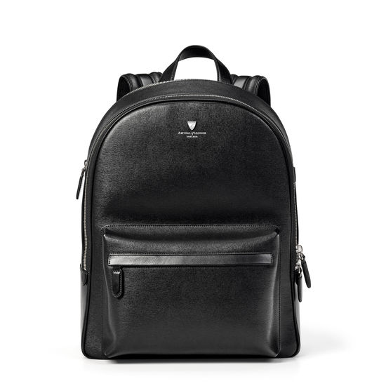 City Zipped Backpack in Black Saffiano & Smooth Black from Aspinal of London