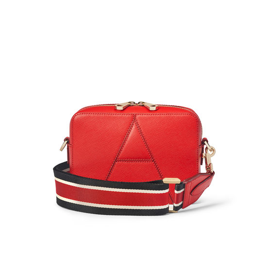 Camera 'A' Bag in Scarlet Saffiano with Webbing Strap from Aspinal of London