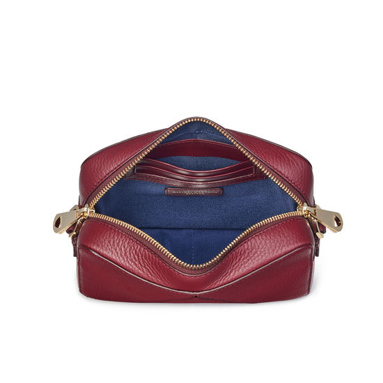 Camera 'A' Bag in Bordeaux Pebble with Webbing Strap from Aspinal of London